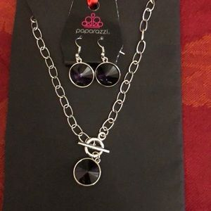 Paparazzi silvertone and purple necklace set